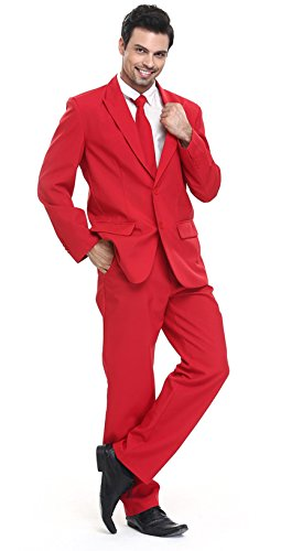 YOU LOOK UGLY TODAY Men's Party Costume Suit Fancy Dress Costumes Red for Adult-Large