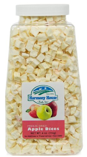 Harmony House Foods Freeze-Dried Apple, dices (3.5 oz, Quart Size Jar)