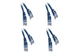 C&E 4 Pack, Cat6 Blue Ethernet Patch Cable, Snagless Molded Boot, 35 Feet, CNE535753