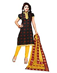 Yehii Women's Chanderi Black Floral dress material Unstitched Salwar Kameez Dupatta for women party wear low price Below Sale Offer