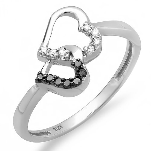 0 15 Carat ctw 10k White Gold Round Black and White Diamond La s Promise