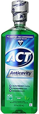 ACT Alchohol Free Anti-Cavity Fluoride Mouthwash, Mint, 18 oz