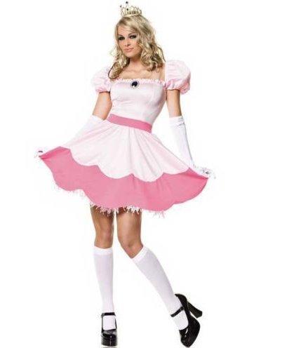 Damen Prinzessin Peach Kostüm Cosplay Abendkleid Mario Gaming Outfit Rosa
