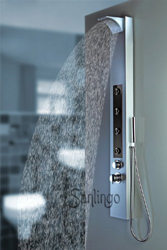 Silver and Black Aluminium Shower Panel with Waterfall from Sanlingo