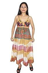 Indiatrendzs Women Dress Tie-Dye Print Brown Casual Wear Cotton Maxi Dress