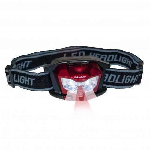 GreatLite 32901 3AAA 3 LED Headlamp, Black, Blue and Red