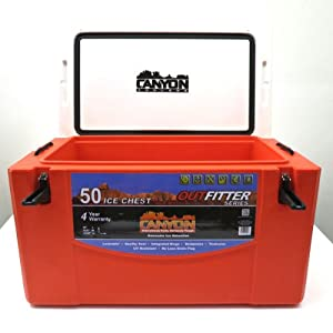 Canyon Coolers Outfitter 50 Marine Auto Travel Camping Hunting - Safety Orange by Canyon Coolers