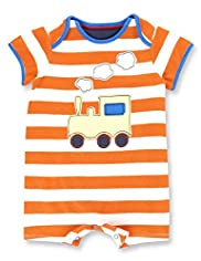 Pure Cotton Striped & Train Appliqué All-in-One