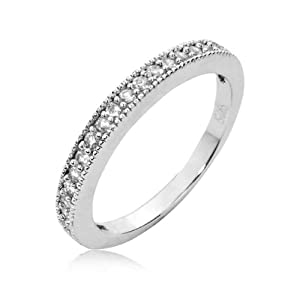 Sterling Silver Half Eternity Ring Round Cubic Zirconia CZ Eternity Ring - Nickel Free Engagement Wedding Eternity Ring [Size 5]