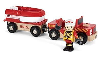 BRIO 33859 - Feuerwehr Boot mit Transporter, bunt