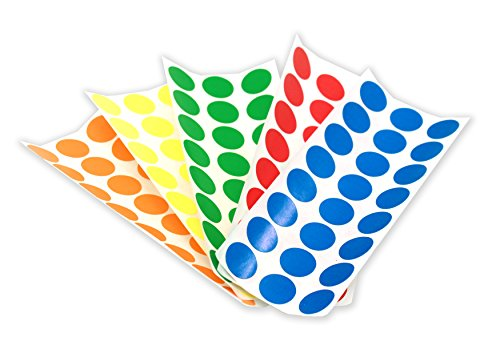 """1/2"""" Dot Labels, Assorted Colors Kit (5 Colors) 