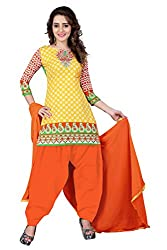 BanoRani Yellow & Peach Color Cotton Printed Patiala Unstitched Dress Material