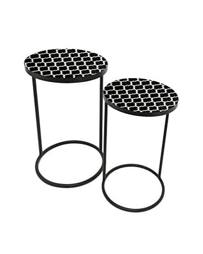 Three Hands Set of 2 Metal Tables, Black
