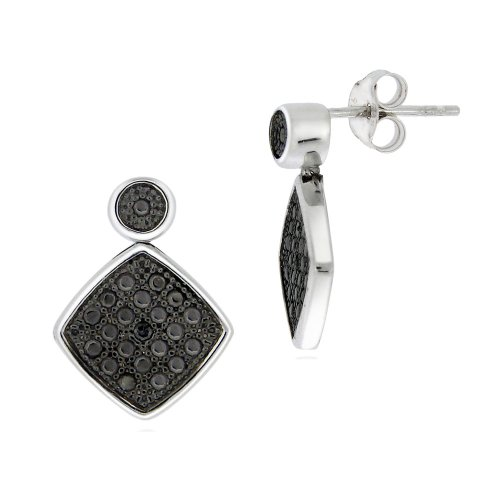 Sterling Silver Black-Diamond Diamond Shape Earrings