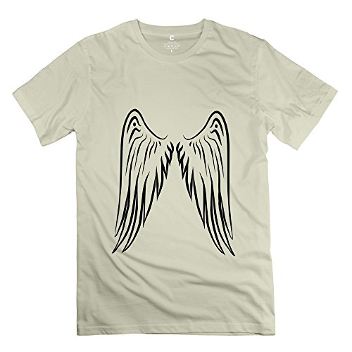 FZZS Men's Angel Wings T Shirt Natural