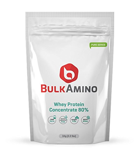 Bulkamino Whey Protein Concentrate 80 % Raw Protein 2Kg (4.4Lbs) (2 X 1kg Pack)Supplement Powder (pack Of Two)...