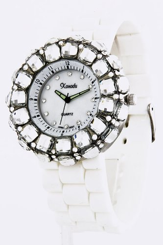 Karmas Canvas Acrylic Jewel Case Silicone Watch (White)