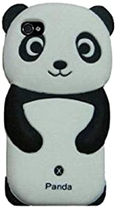 VanMobileGear IPHC-545-2MX(BK)-p Panda Silicone Jelly Skin Case Cover for Apple iPhone 4/4S - Retail Packaging - Black