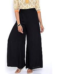 Navyataa Women's Designer Rayon Black Stylish Palazzo Pants For Women (Free Size)
