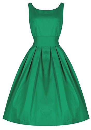 Dreagal Vintage 1950's Floral Spring Garden Party Picnic Dress Party Cocktail Dress, Style2-Green, Small