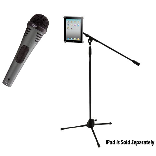 Pyle Mic And Stand Package - Pdmik2 Professional Moving Coil Dynamic Handheld Microphone - Pmkspad1 Multimedia Microphone Stand With Adapter For Ipad 2 (Adjustable For Compatibility W/Ipad 1)