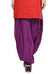 Stylenmart Women Cotton Solid Full Patiala Salwar (Stmapa078618 _Purple _Free Size)