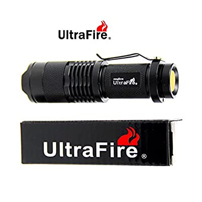 UltraFire CREE XPE-Q5 3W Flashlight Torch Adjustable Focus Zoom Light Lamp Black Color
