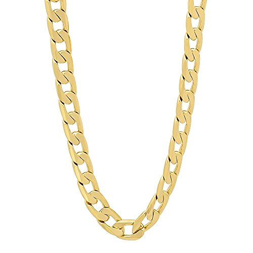 Men'S 6Mm High Polished 14 Karat Yellow Gold-Layered Open Cuban Link Chain, 20""