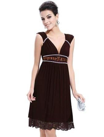 Ever Pretty Cap Sleeve V Neck Empire Line Rhinestones Club Party Dress 28107, HE28107BR08, Brown, 6US