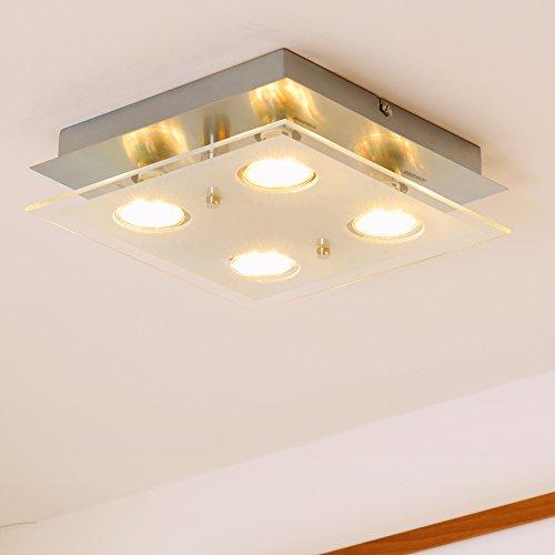 LED-Deckenleuchte-Deckenlampe-Wohnzimmer-GU10-4-flammig-a-3-Watt-4-x-250-Lumen-Schlafzimmer-chrom-matt-nickel-Deckenstrahler-Strahler-GU-10-viereckig-Flur-Kche-Kinderzimmer