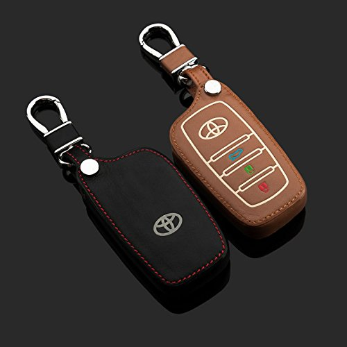 Amooca 3-buttons Leather Luminous Car Smart Remote Key Fob Holder Case Cover Fit For Toyota Highlander REIZ Corolla Camry Brown 1PCS (Toyota Corolla Car Key Cover compare prices)