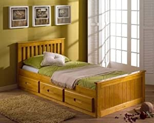 3ft Single Captain Cabin Storage Solid Pine Wooden Bed Bedstead in Antique Pine & Kayflex Medium Tension Foam Mattress