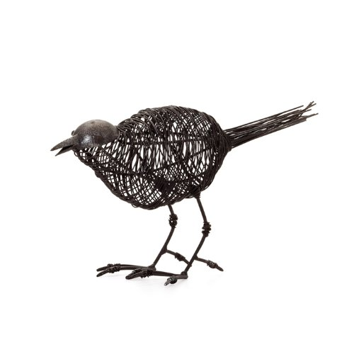 Torre & Tagus Magpie Wire Bird Head Down Sculpture