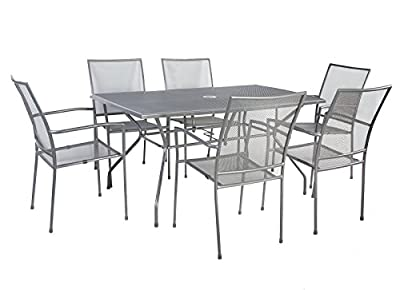 Bentley Garden Outdoor Metal Mesh 7 Piece Table And Chairs Grey Furniture Set