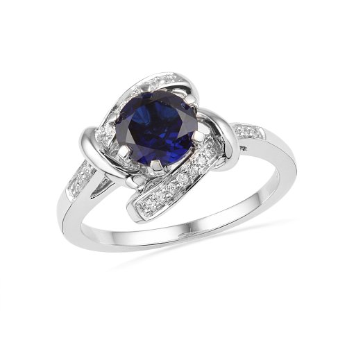 Platinum Plated Sterling Silver Lab Create Blue Sapphire and Round Diamond Engagement Ring (1.59Cttw)