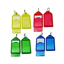 Tinksky Plastic Luggage ID Tags Labels Key Fobs with Key Rings Pack of 60(Random Color)