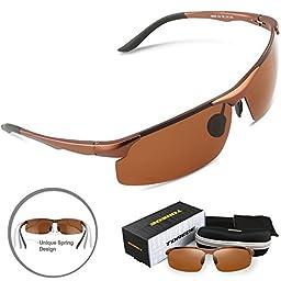 Torege Men\'s Sports Style Polarized Sunglasses Driver Glasses Unbreakable Frame M291 (Light Brown)