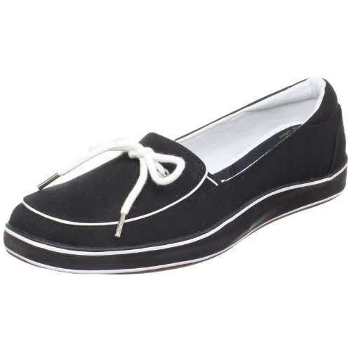 Grasshoppers Women's Highview Slip-On Loafer,Black Canvas,6 M US