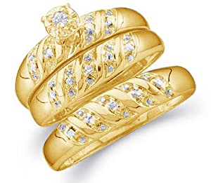 "Size - 9.5 - 14k Yellow Gold Mens and Ladies Couple His & Hers Trio 3 Three Ring Bridal Matching Engagement Wedding Ring Band Set - Round Diamonds - Solitaire Center Setting (.07 cttw) - SEE ""PRODUCT DESCRIPTION"" TO CHOOSE BOTH SIZES"