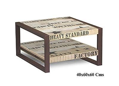 vollmassiv Möbel Mango Holz Eisen bedruckt Couchtisch 60x60 Industrial-Stil Massivholz Massivmöbel Factory #125