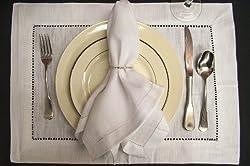 Loom State White Linen Hemstitch Dinner Napkins - Set of 12