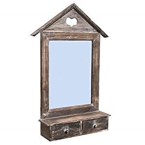 vintage spiegel wandspiegel holz ablage schubladen k che haushalt. Black Bedroom Furniture Sets. Home Design Ideas