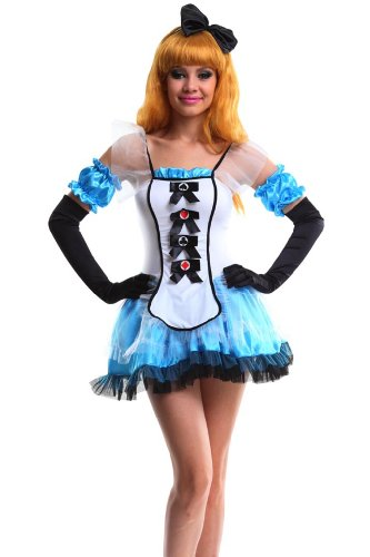 Intimates21 -Deluxe Fantasy Alici in Wonderland Costume Dress Fancy Party Halloween