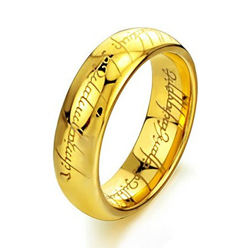 Crownea Tungsten Carbide Lord of the Rings Style Gold plated Ring