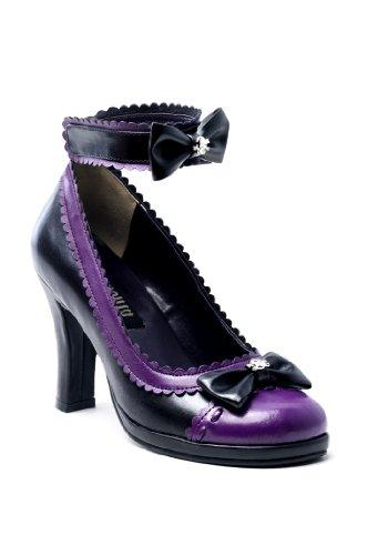 High-Heels-High-Heels-Pumps: GLAM-40, Gothic D�Orsay Pumps schwarz lila Lolita-Style, Gr��e w�hlen:36