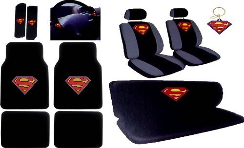 16Pcs New Superman Car Seat Covers Set With Heavy Duty Carpet Floor Mats, Shoulder Pads And Steering Wheel Cover, Keychain front-469683
