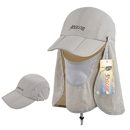 ICOLOR 360° Protection Folding Sun Hat, Flap Hats Man Women UPF 50+ Cycling Sun Cap, Removable Neck & Face Flap Cover Caps for Baseball, Hiking, Fishing Outdoor Camping Activities (Khaki) (Sun Protection Fishing compare prices)
