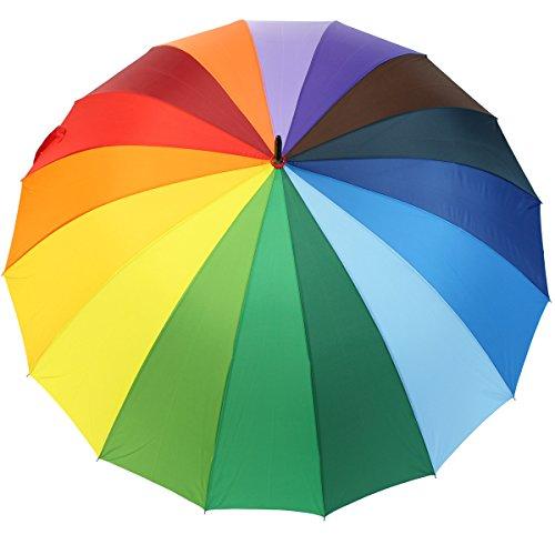 iX-brella Regenschirm XXL Regenbogen 129 cm - leicht bunt groß mit Softgriff -