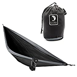 Single Person Adventure Hammock made of Rip-stop Nylon by Tribe Provisions - Includes carabiners and lashing cables Black