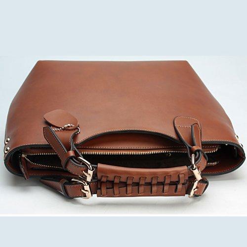 Plusminus Women's 100% Leather Smooth Skin Shoulder Bag Big Brown